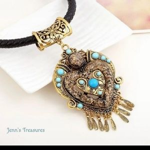 Romantic Vintage BOHO Antiqued Heart Necklace